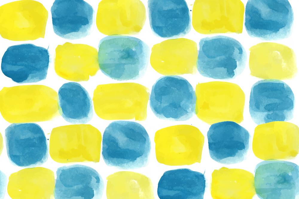 水彩のパターンイラスト(黄色と青)透過あり