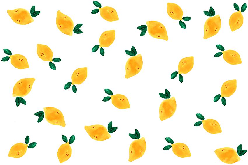 レモンのイラストパターン(透過ファイルあり)