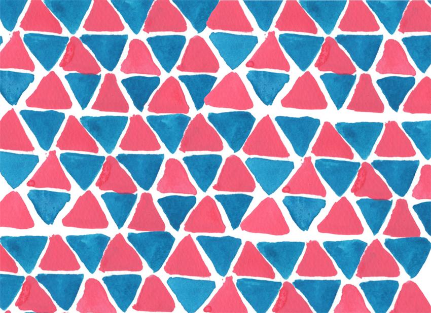 ピンクとブルーの水彩パターン
